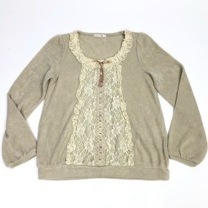 Axes Femme | Lace Front with Bow Pullover Sweater